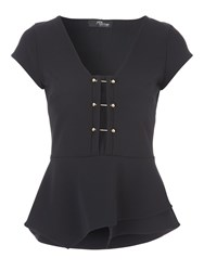 Jane Norman Metal T Bar Peplum Top Black