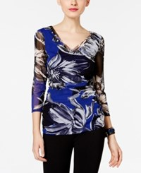 Inc International Concepts Ruched Floral Print Top Only At Macy's Floral Brush Stroke