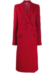 Helmut Lang Double Breasted Belted Coat Red
