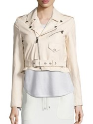 Polo Ralph Lauren Cropped Leather Moto Jacket Cream