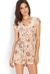 Forever 21 Flower Flight Romper Peach Black