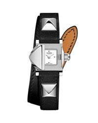 Hermes 16Mm Medor Mini Watch W Black Leather Strap