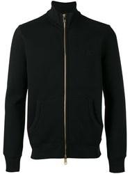 Burberry Logo Embroidered Zipped Sweatshirt Black