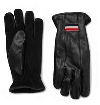 Moncler Suede And Leather Gloves Black