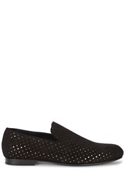 Jimmy Choo Sloane Black Star Cutout Suede Loafers