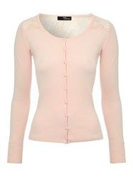 Jane Norman Lace Panel Cardigan Pink