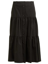 Red Valentino Redvalentino Buttoned Tiered Cotton Midi Skirt Black