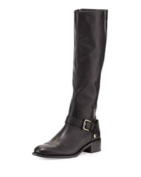 Soar Flat Leather Riding Boot Black Delman