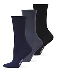 Hot Sox Solid Trouser Three Pack Socks Navy Assorted