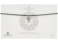 Dogeared Mandala Small Center Circle Choker Necklace On Black Leather Cord Sterling Silver Black Necklace