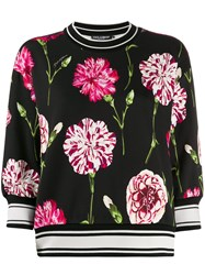 Dolce And Gabbana Carnation Knit Sweater Black