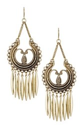 Stephan And Co Textured Chandelier Fringe Earrings Metallic