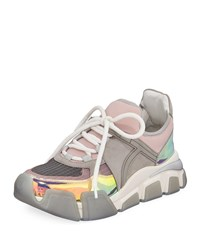 Salvatore Ferragamo Cimbra Lace Up Dad Sneakers Gray Pink
