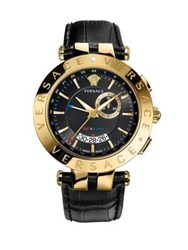 Versace V Race Goldtone Stainless Steel Leather Strap Gmt And Alarm Watch Black