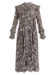 Dodo Bar Or Iggy Paisley Print Silk Midi Dress Black White