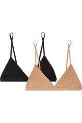 Baserange Net Sustain Mississippi Set Of Two Stretch Bamboo Soft Cup Bras Sand