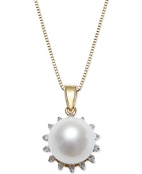 Macy's Cultured Freshwater Pearl 8Mm And Diamond 1 10 Ct. T.W. Pendant Necklace In 14K Gold