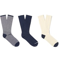 Anonymous Ism Three Pack Cotton Blend Socks Navy