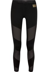 Monreal London Waterfall Mesh Paneled Stretch Jersey Leggings Black