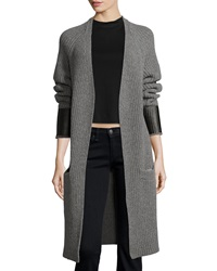 Rag And Bone Bonnie Open Front Long Cardigan Medium Gray