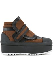 Marni Flatform Velcro Ankle Boots Brown