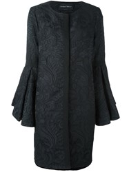 Christian Pellizzari Oversize Ruched Floral Cape Black