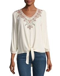 Neiman Marcus Woven Tie Front Cold Shoulder Blouse Ivory