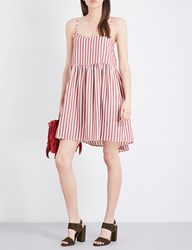 The Great Terrace Striped Cotton Dress Red White Stripe
