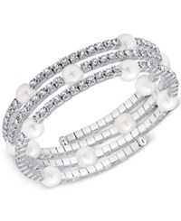 Say Yes To The Prom Silver Tone Imitation Pearl And Crystal Wrap Bracelet A Macy's Exclusive Style