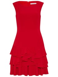 Gina Bacconi Moss Crepe Dress With Tiered Skirt Red