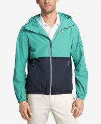 Izod Men's Colorblocked Hooded Windbreaker Midnight Aqua