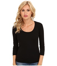Three Dots 3 4 Sleeve Scoop Neck Black Women's T Shirt