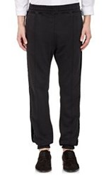 Haider Ackermann Velvet Striped French Terry Sweatpants Black