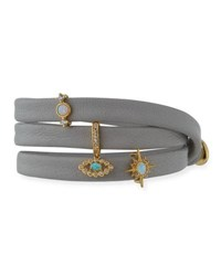 Tai Leather Wrap Bracelet With Charms Gray