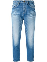 Jil Sander Faded Cropped Skinny Jeans Blue