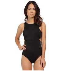 Dkny Street Cast Solids High Neck Cut Out Maillot Black Women's Swimwear Sets