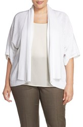 Plus Size Women's Foxcroft Mixed Media Mixed Stitch Open Front Sweater White