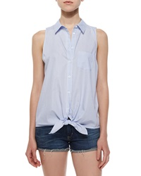 Equipment Mina Sleeveless Tie Front Blouse Periwinkle Blue