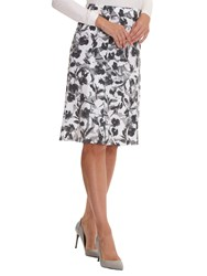 Betty Barclay Printed Midi Skirt White Grey