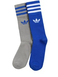 Adidas 2 Pairs Logo Cotton Blend Crew Socks