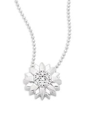 Alex Woo Little Seasons Diamond And 14K White Gold Sunflower Pendant Necklace