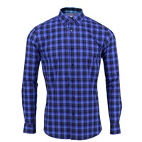 Lords Of Harlech Morris Shirt In Blue Gingham Blue Black