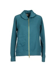 Douuod Fleecewear Zip Sweatshirts Women Deep Jade