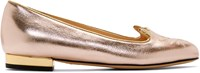 Charlotte Olympia Rose Gold Kitty Flats