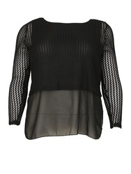 Samya Plus Size Cropped Net Top Black