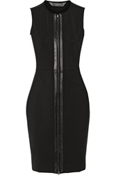 Reed Krakoff Leather Trimmed Scuba Jersey Dress Black