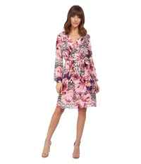 Jessica Simpson Chiffon Long Sleeve Floral Dress Lupita Print Women's Dress Pink