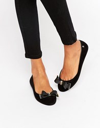 Melissa Metal Trim Bow Ballerina Black Flock