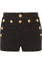 Balmain Button Detailed Stretch Denim Shorts Black