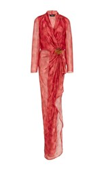 Paule Ka Printed Wrap Gown With Embroidery Pink